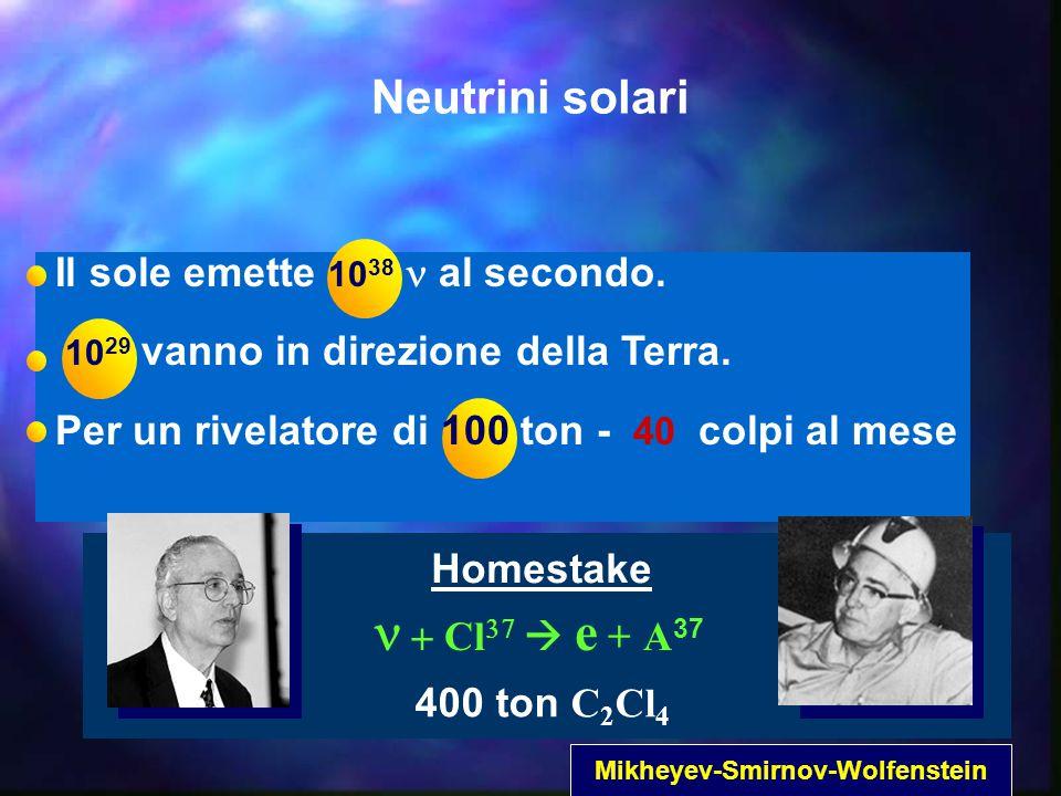 400 ton C 2 Cl 4  Cl     e + A 37 Homestake Neutrini solari Il sole emette 10 38 al secondo.