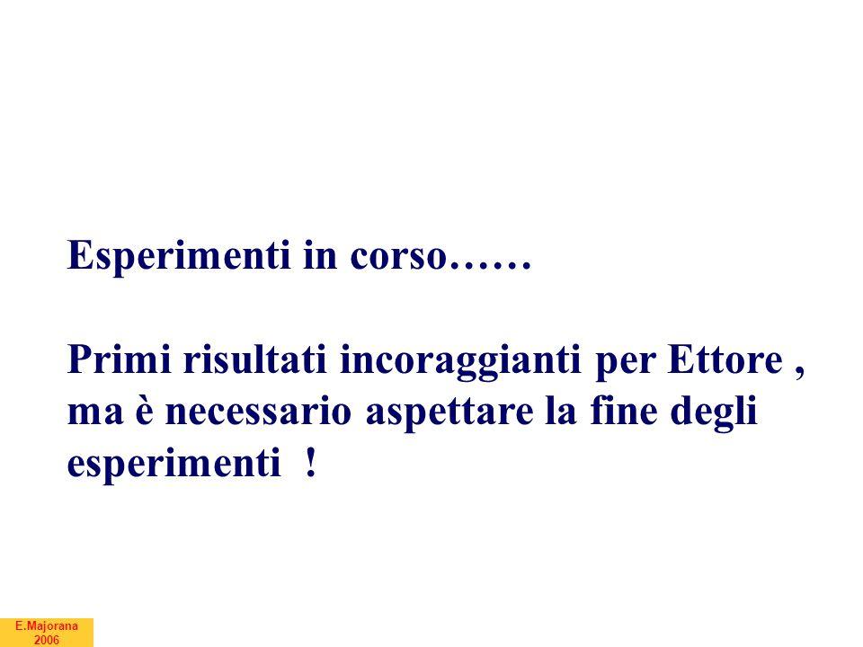 Esperimenti in corso…… Primi risultati incoraggianti per Ettore, ma è necessario aspettare la fine degli esperimenti !