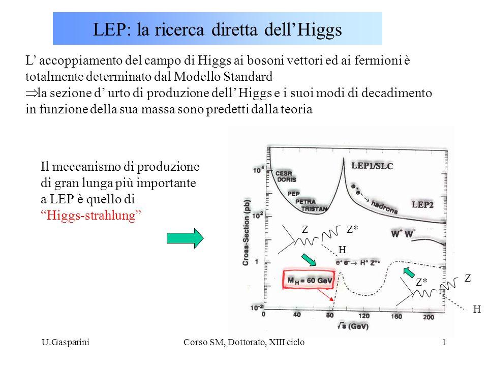 U.GaspariniCorso SM, Dottorato, XIII ciclo1 LEP: la ricerca diretta dell'Higgs L' accoppiamento del campo di Higgs ai bosoni vettori ed ai fermioni è totalmente determinato dal Modello Standard  la sezione d' urto di produzione dell' Higgs e i suoi modi di decadimento in funzione della sua massa sono predetti dalla teoria Z*Z H H Z Il meccanismo di produzione di gran lunga più importante a LEP è quello di Higgs-strahlung