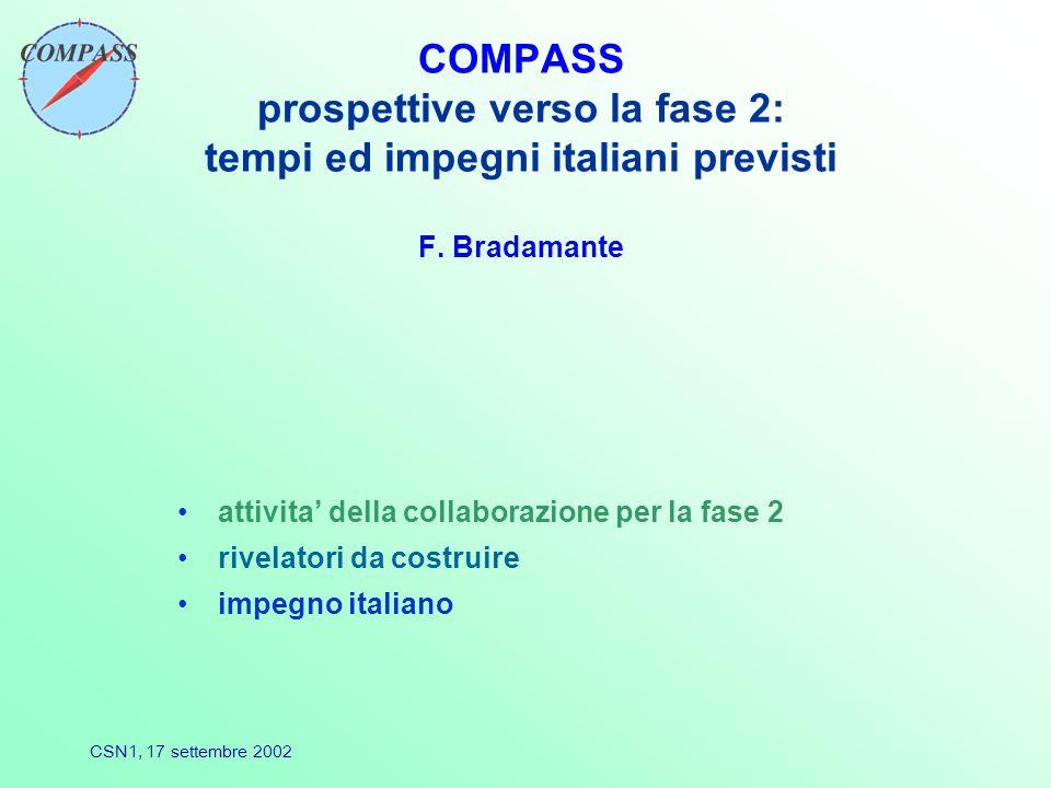 CSN1, 17 settembre 2002 COMPASS prospettive verso la fase 2: tempi ed impegni italiani previsti F.