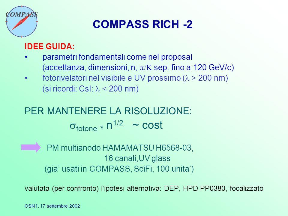 CSN1, 17 settembre 2002 COMPASS RICH -2 IDEE GUIDA: parametri fondamentali come nel proposal (accettanza, dimensioni, n,  sep.