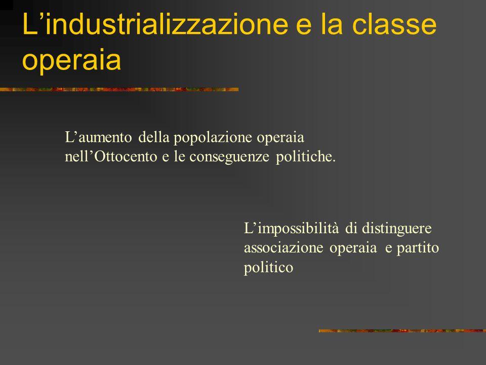 L'industrializzazione e la classe operaia L'aumento della popolazione operaia nell'Ottocento e le conseguenze politiche.
