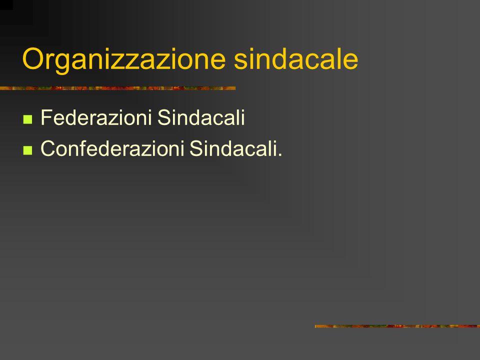Organizzazione sindacale Federazioni Sindacali Confederazioni Sindacali.