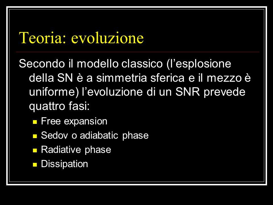 Teoria: evoluzione Secondo il modello classico (l'esplosione della SN è a simmetria sferica e il mezzo è uniforme) l'evoluzione di un SNR prevede quattro fasi: Free expansion Sedov o adiabatic phase Radiative phase Dissipation