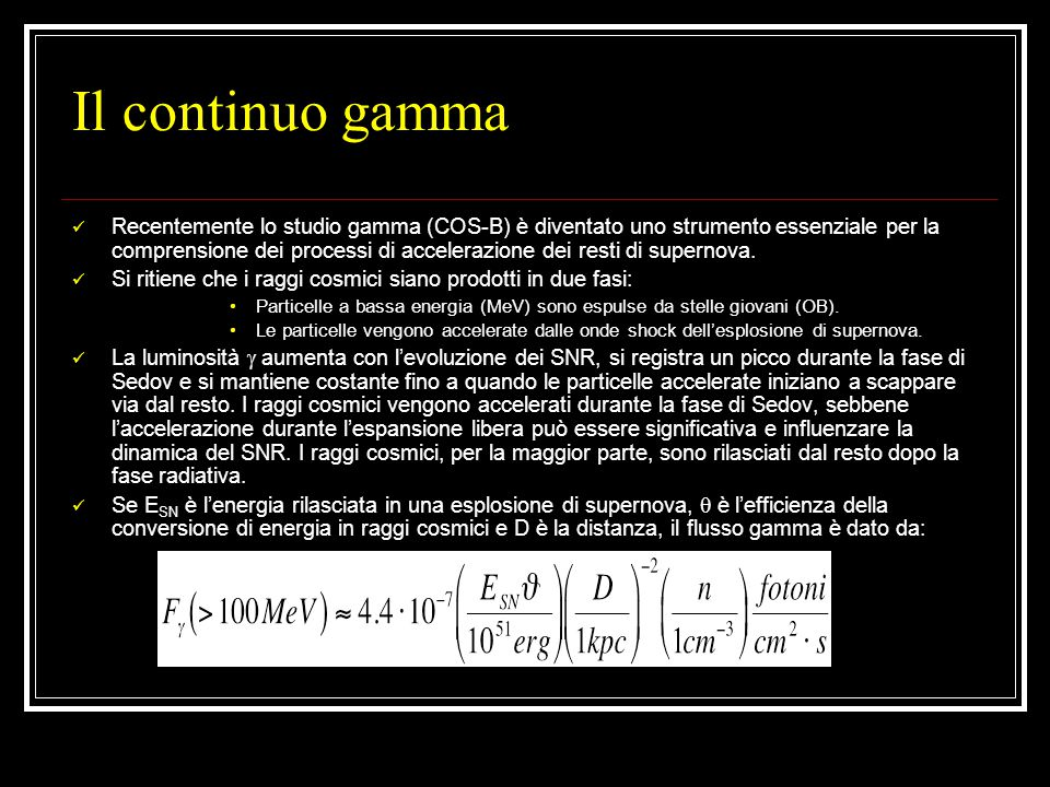 Il continuo gamma Recentemente lo studio gamma (COS-B) è diventato uno strumento essenziale per la comprensione dei processi di accelerazione dei resti di supernova.