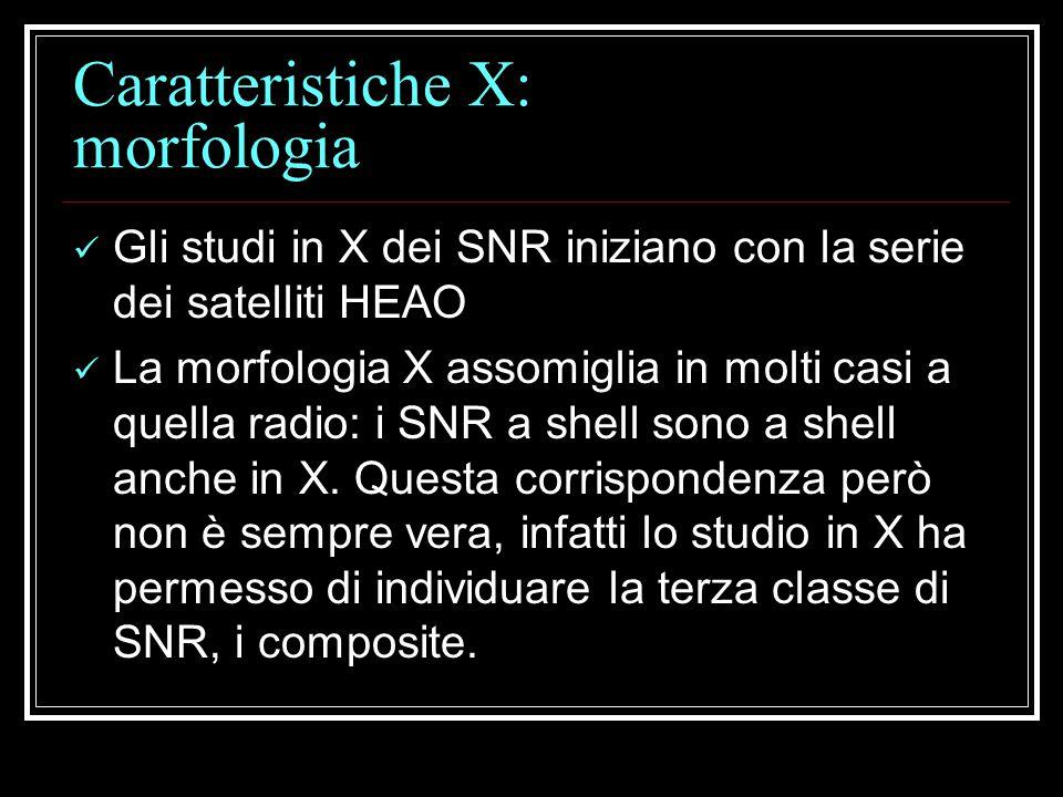 Caratteristiche X: morfologia Gli studi in X dei SNR iniziano con la serie dei satelliti HEAO La morfologia X assomiglia in molti casi a quella radio: i SNR a shell sono a shell anche in X.