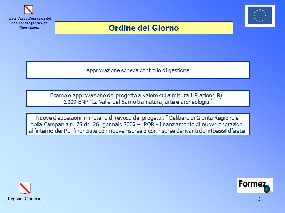 Ente Parco Regionale del Bacino idrografico del fiume Sarno Regione Campania 2 Approvazione scheda controllo di gestione Nuove disposizioni in materia di revoca dei progetti… Delibera di Giunta Regionale della Campania n.