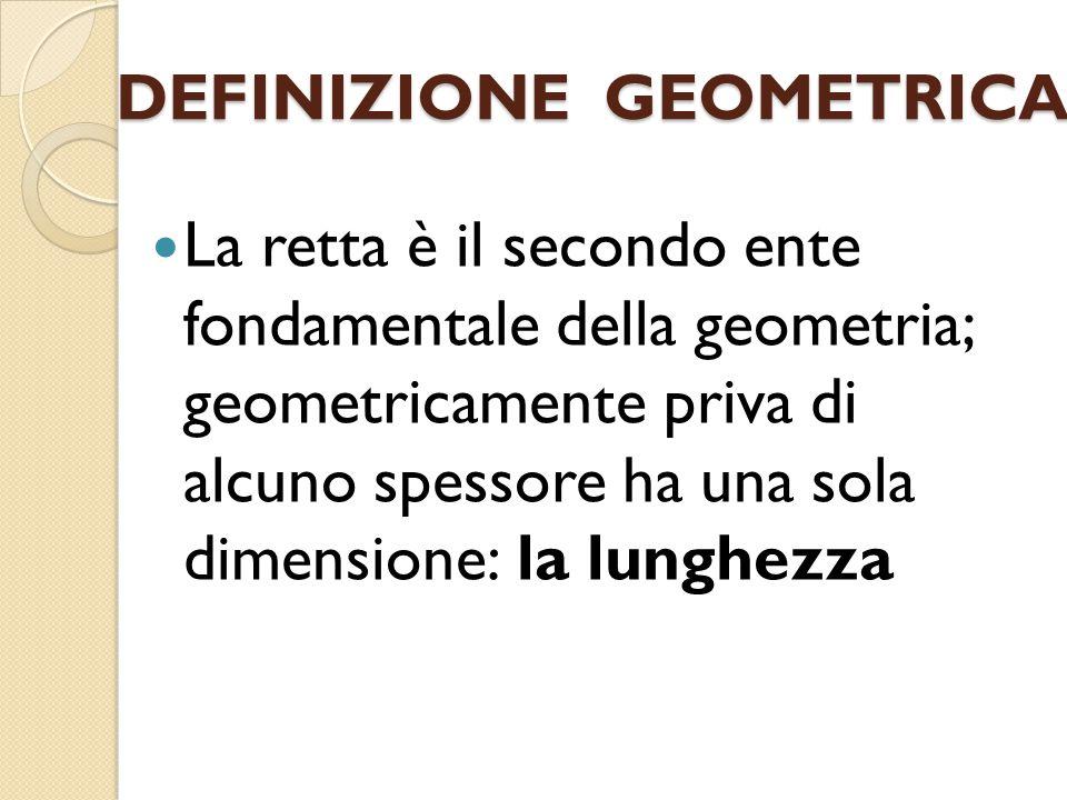 DEFINIZIONE GEOMETRICA La retta è il secondo ente fondamentale della geometria; geometricamente priva di alcuno spessore ha una sola dimensione: la lu