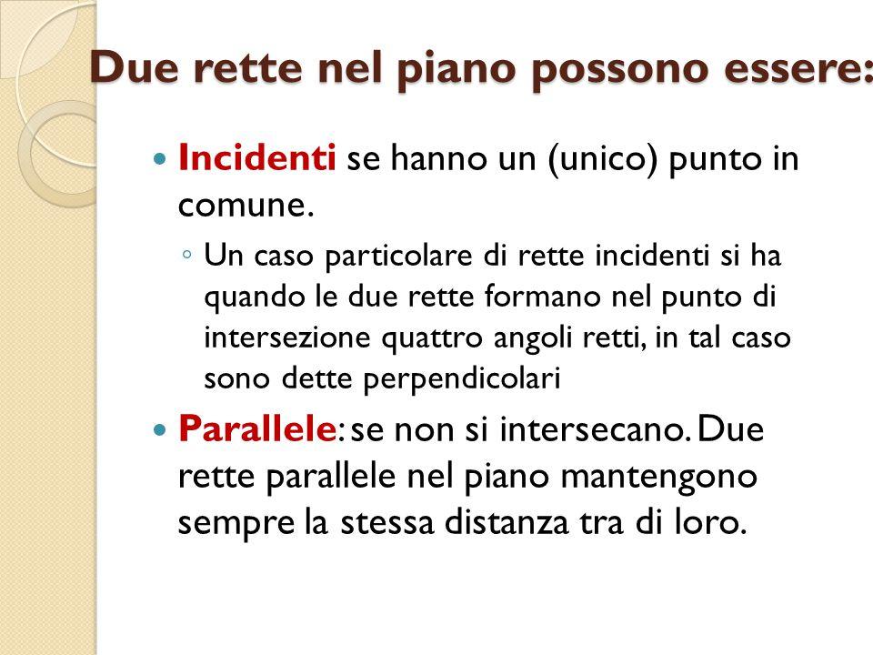 Due rette nel piano possono essere: Incidenti se hanno un (unico) punto in comune. ◦ Un caso particolare di rette incidenti si ha quando le due rette