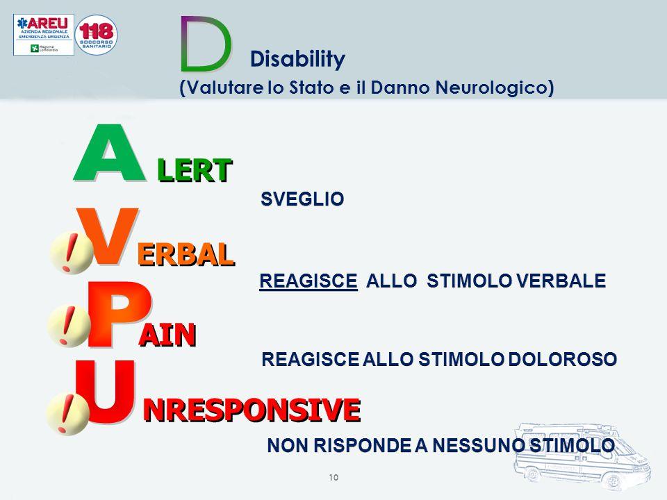 10 Disability (Valutare lo Stato e il Danno Neurologico) AIN NRESPONSIVE LERT ERBAL