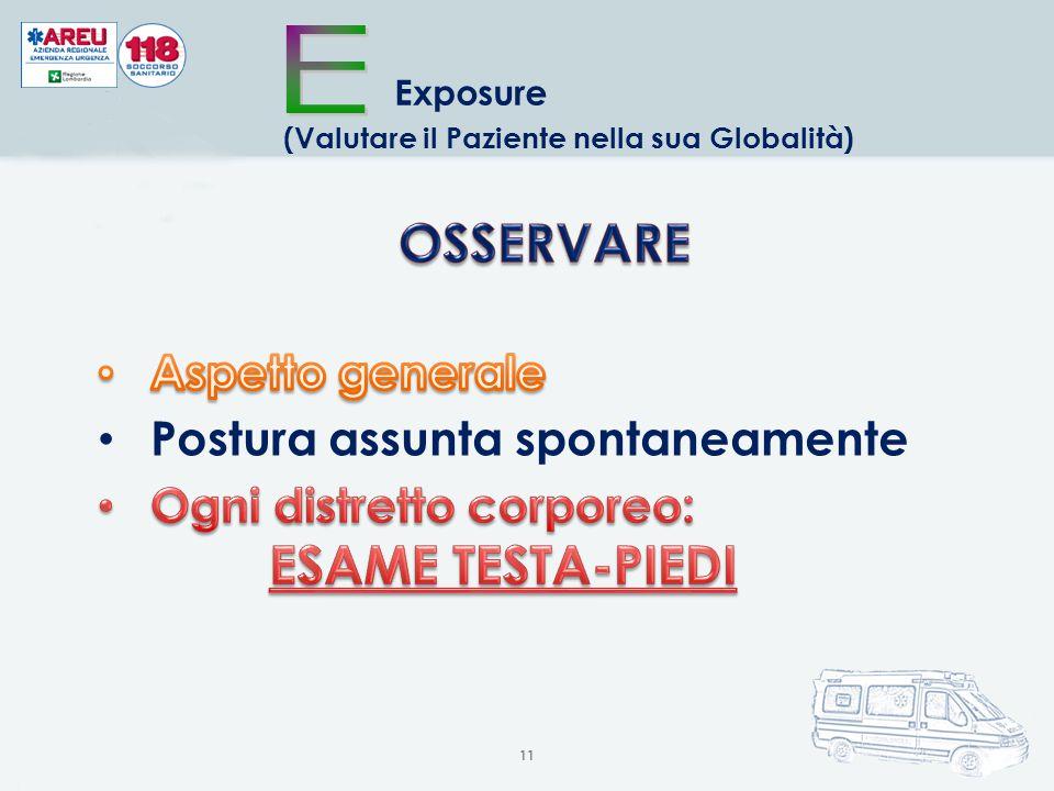 11 Exposure (Valutare il Paziente nella sua Globalità) Postura assunta spontaneamente