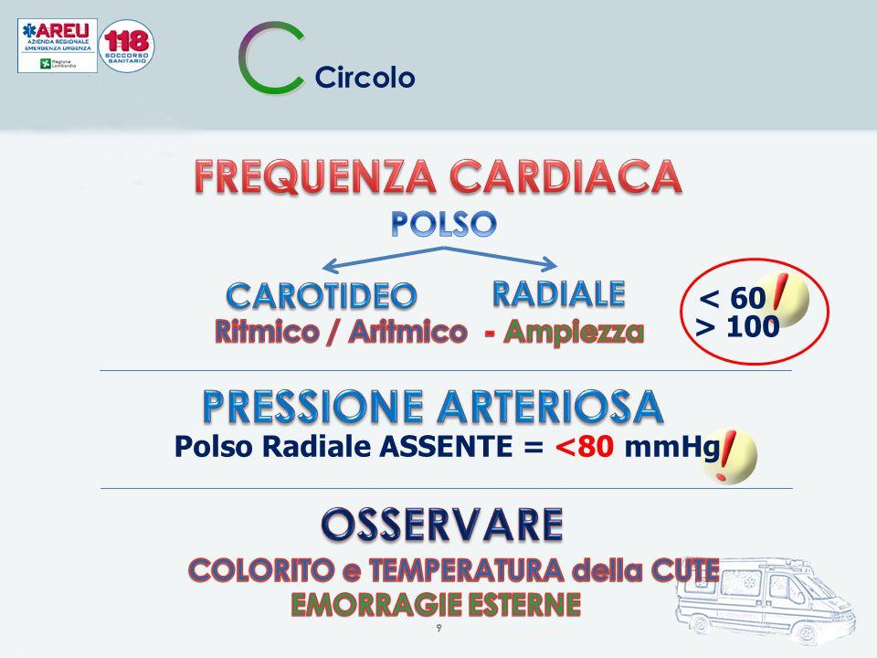 9 Circolo < 60 > 100 Polso Radiale ASSENTE = <80 mmHg