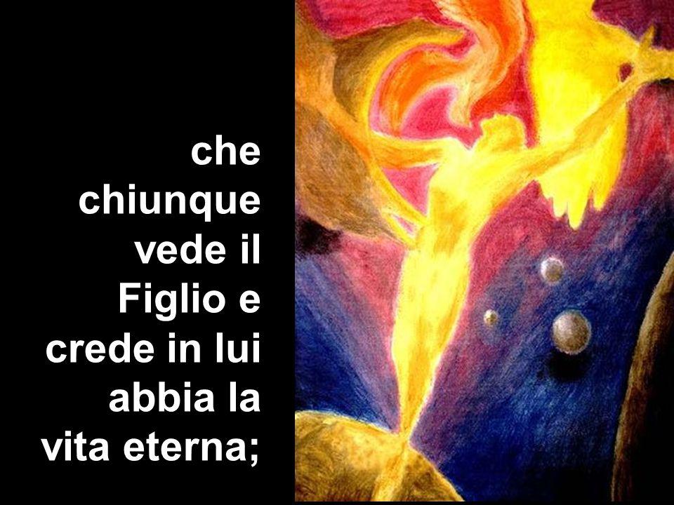 che chiunque vede il Figlio e crede in lui abbia la vita eterna;