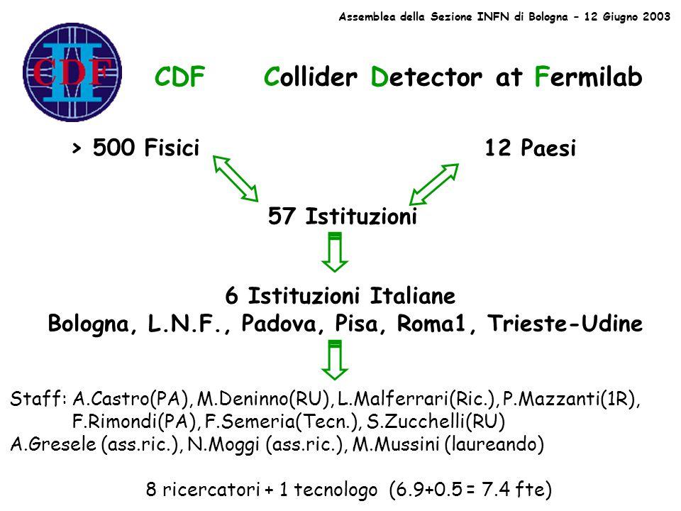 CDF Collider Detector at Fermilab > 500 Fisici 57 Istituzioni 12 Paesi 6 Istituzioni Italiane Bologna, L.N.F., Padova, Pisa, Roma1, Trieste-Udine Staff: A.Castro(PA), M.Deninno(RU), L.Malferrari(Ric.), P.Mazzanti(1R), F.Rimondi(PA), F.Semeria(Tecn.), S.Zucchelli(RU) A.Gresele (ass.ric.), N.Moggi (ass.ric.), M.Mussini (laureando) 8 ricercatori + 1 tecnologo (6.9+0.5 = 7.4 fte) Assemblea della Sezione INFN di Bologna – 12 Giugno 2003