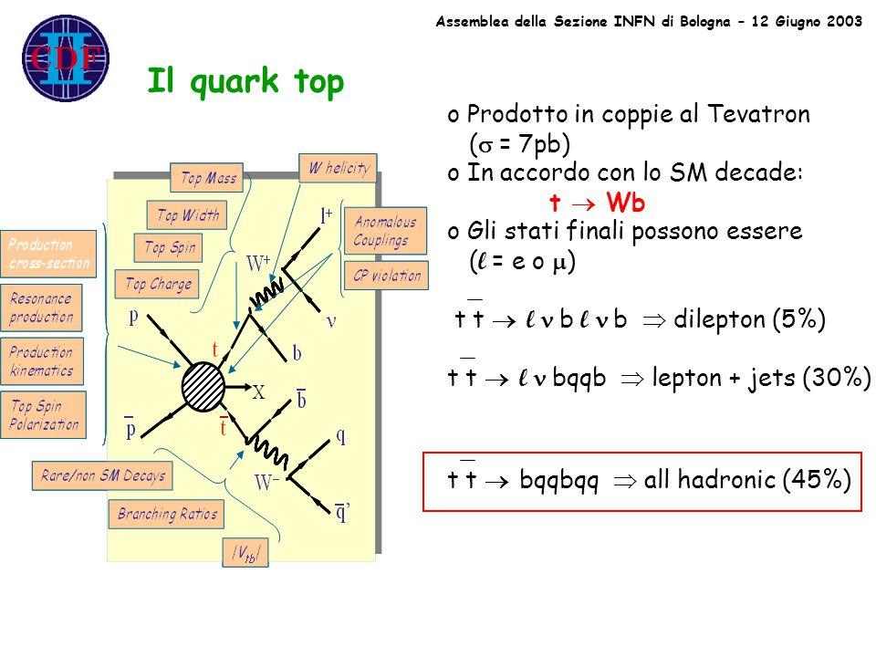 Il quark top o Prodotto in coppie al Tevatron (  = 7pb) o In accordo con lo SM decade: t  Wb o Gli stati finali possono essere ( l = e o  ) t t  l  b l  b  dilepton (5%) t t  l  bqqb  lepton + jets (30%) t t  bqqbqq  all hadronic (45%)