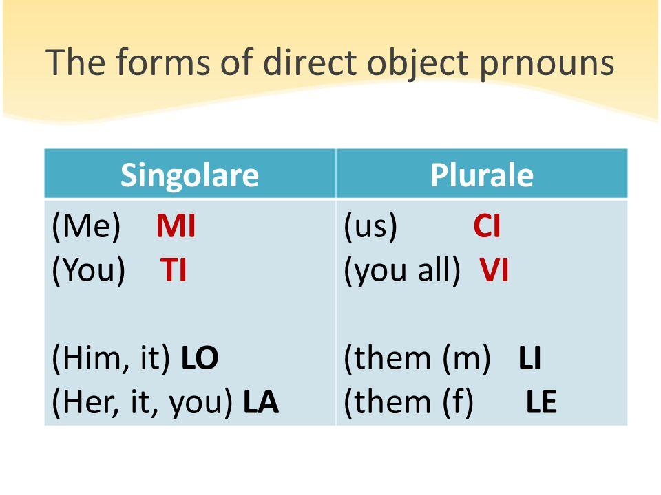 The forms of direct object prnouns SingolarePlurale (Me) MI (You) TI (Him, it) LO (Her, it, you) LA (us) CI (you all) VI (them (m) LI (them (f) LE