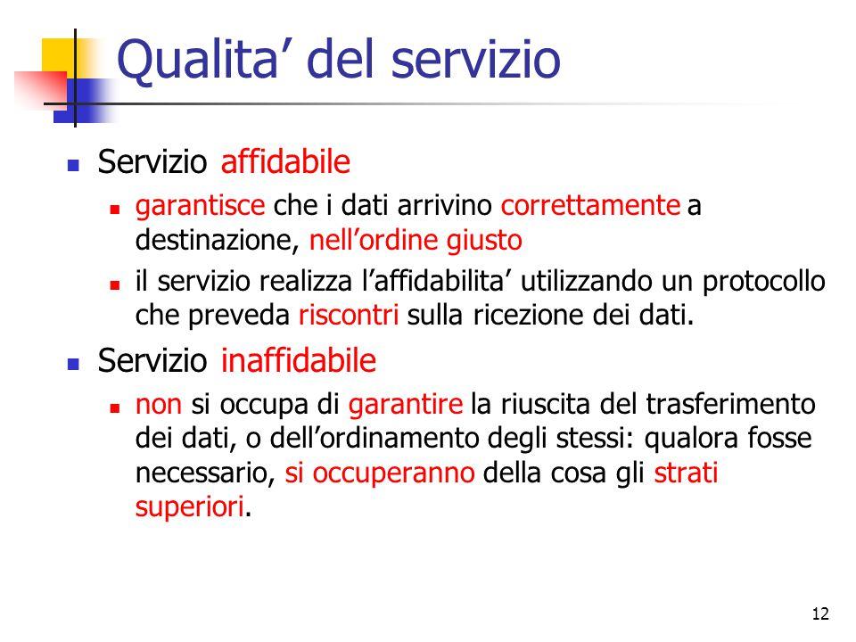 12 Qualita' del servizio Servizio affidabile garantisce che i dati arrivino correttamente a destinazione, nell'ordine giusto il servizio realizza l'af