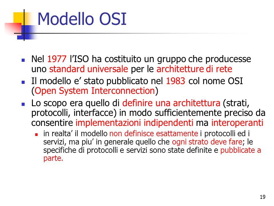 19 Modello OSI Nel 1977 l'ISO ha costituito un gruppo che producesse uno standard universale per le architetture di rete Il modello e' stato pubblicato nel 1983 col nome OSI (Open System Interconnection) Lo scopo era quello di definire una architettura (strati, protocolli, interfacce) in modo sufficientemente preciso da consentire implementazioni indipendenti ma interoperanti in realta' il modello non definisce esattamente i protocolli ed i servizi, ma piu' in generale quello che ogni strato deve fare; le specifiche di protocolli e servizi sono state definite e pubblicate a parte.