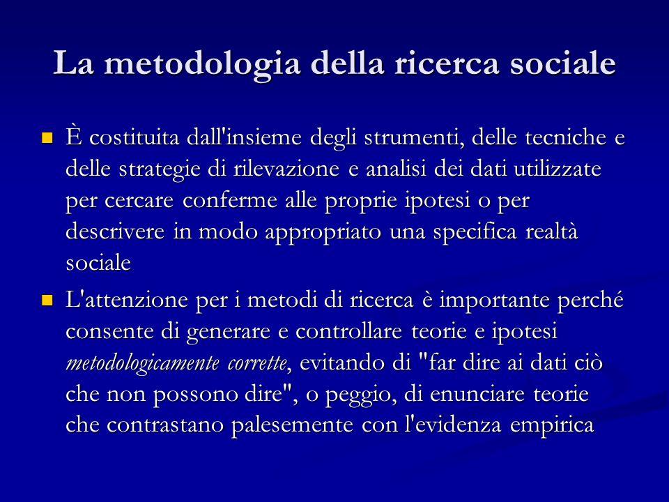 La metodologia della ricerca sociale È costituita dall'insieme degli strumenti, delle tecniche e delle strategie di rilevazione e analisi dei dati uti