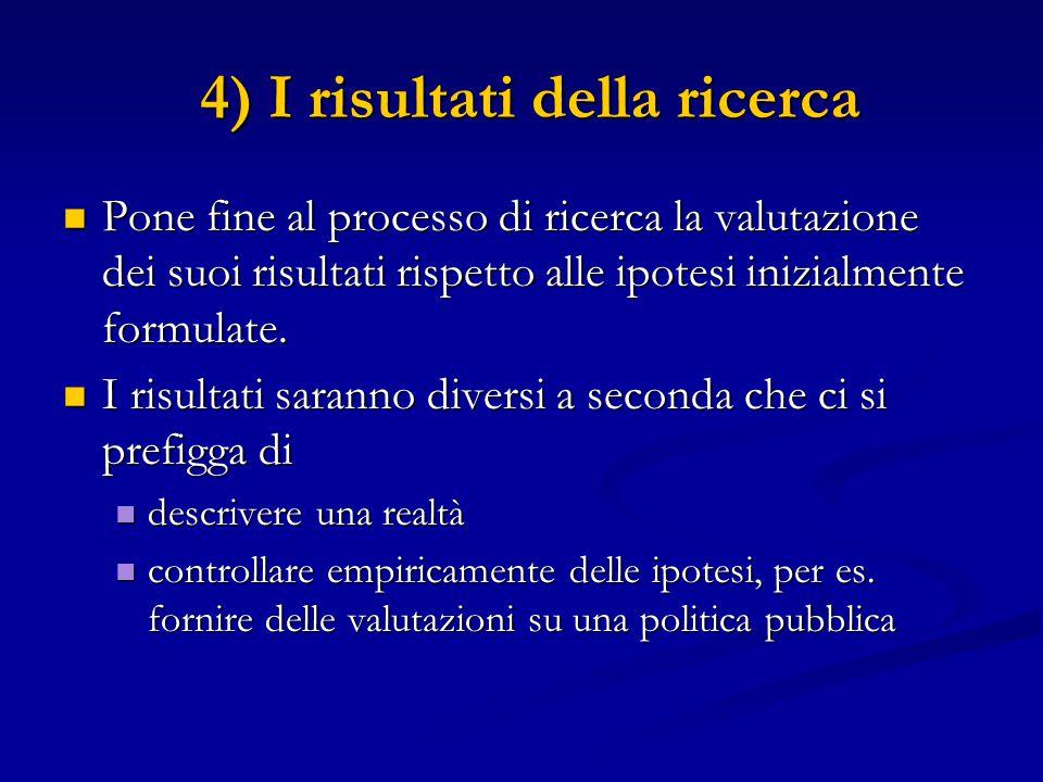 4) I risultati della ricerca 4) I risultati della ricerca Pone fine al processo di ricerca la valutazione dei suoi risultati rispetto alle ipotesi ini
