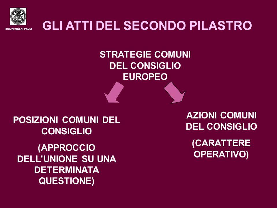 Università di Pavia GLI ATTI DEL SECONDO PILASTRO STRATEGIE COMUNI DEL CONSIGLIO EUROPEO POSIZIONI COMUNI DEL CONSIGLIO (APPROCCIO DELL'UNIONE SU UNA DETERMINATA QUESTIONE) AZIONI COMUNI DEL CONSIGLIO (CARATTERE OPERATIVO)