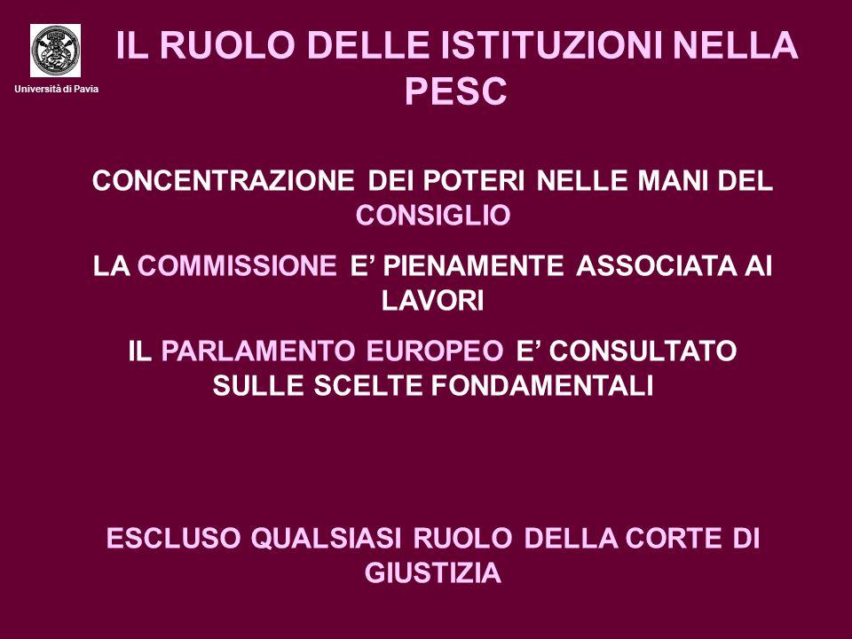 Università di Pavia IL RUOLO DELLE ISTITUZIONI NELLA PESC CONCENTRAZIONE DEI POTERI NELLE MANI DEL CONSIGLIO LA COMMISSIONE E' PIENAMENTE ASSOCIATA AI LAVORI IL PARLAMENTO EUROPEO E' CONSULTATO SULLE SCELTE FONDAMENTALI ESCLUSO QUALSIASI RUOLO DELLA CORTE DI GIUSTIZIA