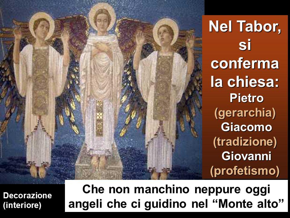 Decorazione (interiore) Che non manchino neppure oggi angeli che ci guidino nel Monte alto Nel Tabor, si conferma la chiesa: Pietro (gerarchia) Giacomo (tradizione) Giovanni (profetismo)