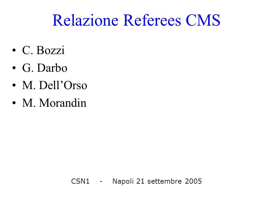 Relazione Referees CMS C. Bozzi G. Darbo M. Dell'Orso M. Morandin CSN1 - Napoli 21 settembre 2005