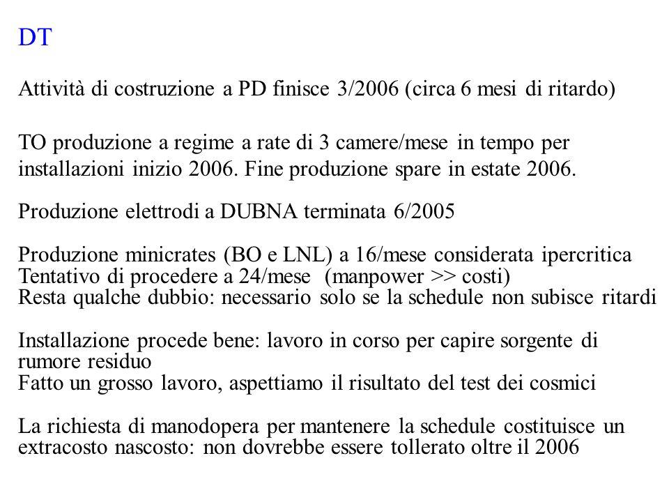 RPC Produzione e installazione procedono bene: inizia commissioning Produzione singole gap prevista finire 3/2006 Produzione doppie gap prevista finire 5/2006 Produzione moduli HV/LV prevista finire a 2/2006 (ma ne hanno 0!) Manca ancora qualche dettaglio LV (generatore 48 V) Richiesta trigger tecnico per commissioning: OK parte locale perplessita` a estenderlo come trigger globale di CMS Grande dispendio di energie e risorse (MOF-B: gas) Un esperto italiano dovrebbe seguire il problema del ricircolo del gas Ingresso del gruppo ex-BTEV di LNF in corso di definizione