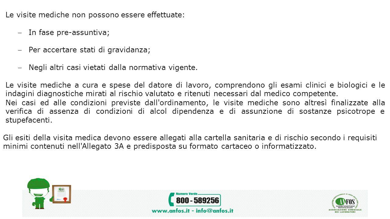 Le visite mediche non possono essere effettuate: In fase pre-assuntiva; Per accertare stati di gravidanza; Negli altri casi vietati dalla normativa