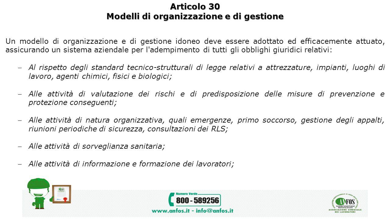 Articolo 30 Modelli di organizzazione e di gestione Un modello di organizzazione e di gestione idoneo deve essere adottato ed efficacemente attuato, a