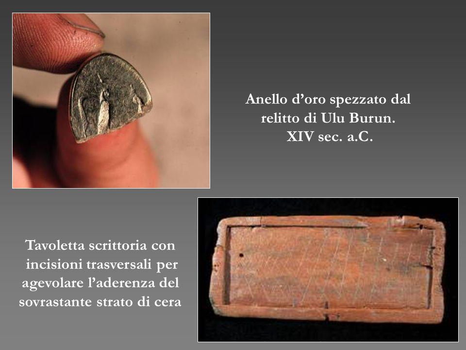 Anello d'oro spezzato dal relitto di Ulu Burun. XIV sec. a.C. Tavoletta scrittoria con incisioni trasversali per agevolare l'aderenza del sovrastante