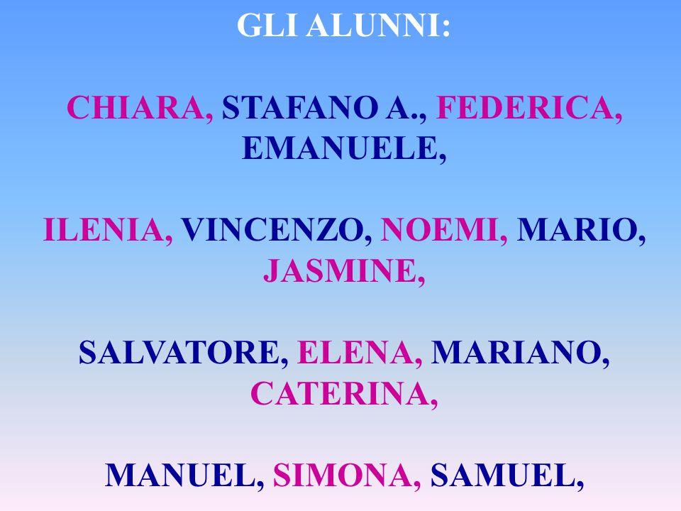 GLI ALUNNI: CHIARA, STAFANO A., FEDERICA, EMANUELE, ILENIA, VINCENZO, NOEMI, MARIO, JASMINE, SALVATORE, ELENA, MARIANO, CATERINA, MANUEL, SIMONA, SAMUEL, STEFANO S.