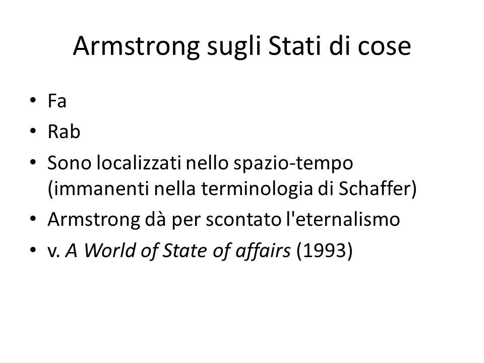 Armstrong sugli Stati di cose Fa Rab Sono localizzati nello spazio-tempo (immanenti nella terminologia di Schaffer) Armstrong dà per scontato l eternalismo v.