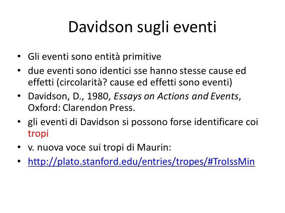 Davidson sugli eventi Gli eventi sono entità primitive due eventi sono identici sse hanno stesse cause ed effetti (circolarità.