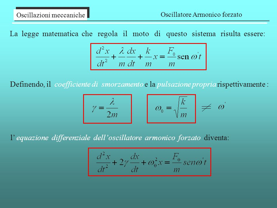 La legge matematica che regola il moto di questo sistema risulta essere: Oscillazioni meccaniche Oscillatore Armonico forzato l' equazione differenziale dell' oscillatore armonico forzato diventa: Definendo, il coefficiente di smorzamento e la pulsazione propria rispettivamente :