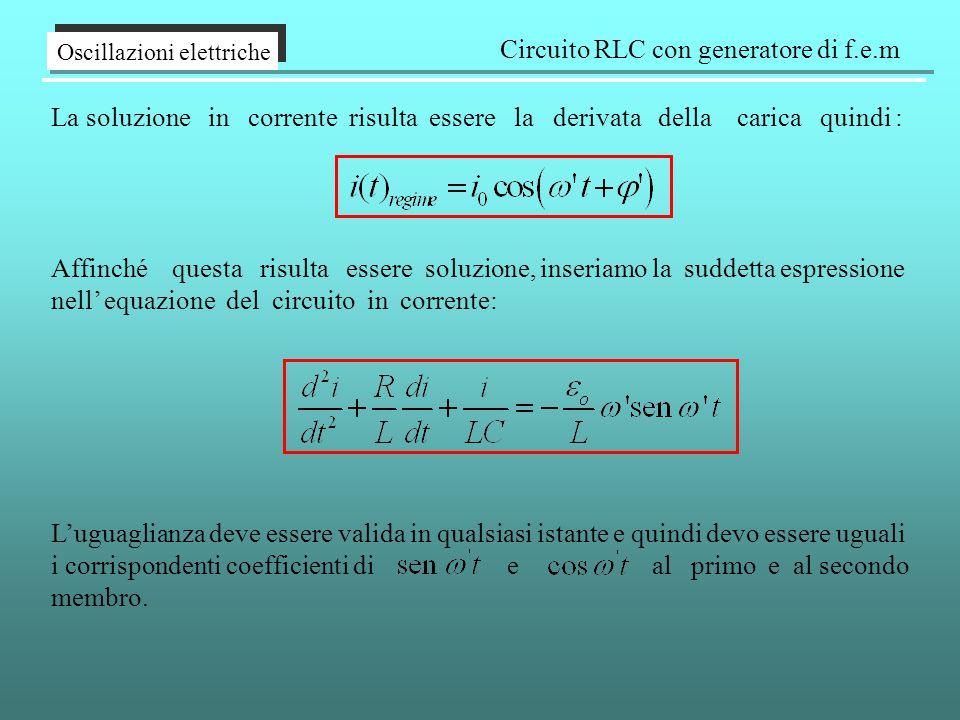 Oscillazioni elettriche Circuito RLC con generatore di f.e.m La soluzione in corrente risulta essere la derivata della carica quindi : Affinché questa risulta essere soluzione, inseriamo la suddetta espressione nell' equazione del circuito in corrente: L'uguaglianza deve essere valida in qualsiasi istante e quindi devo essere uguali i corrispondenti coefficienti di e al primo e al secondo membro.