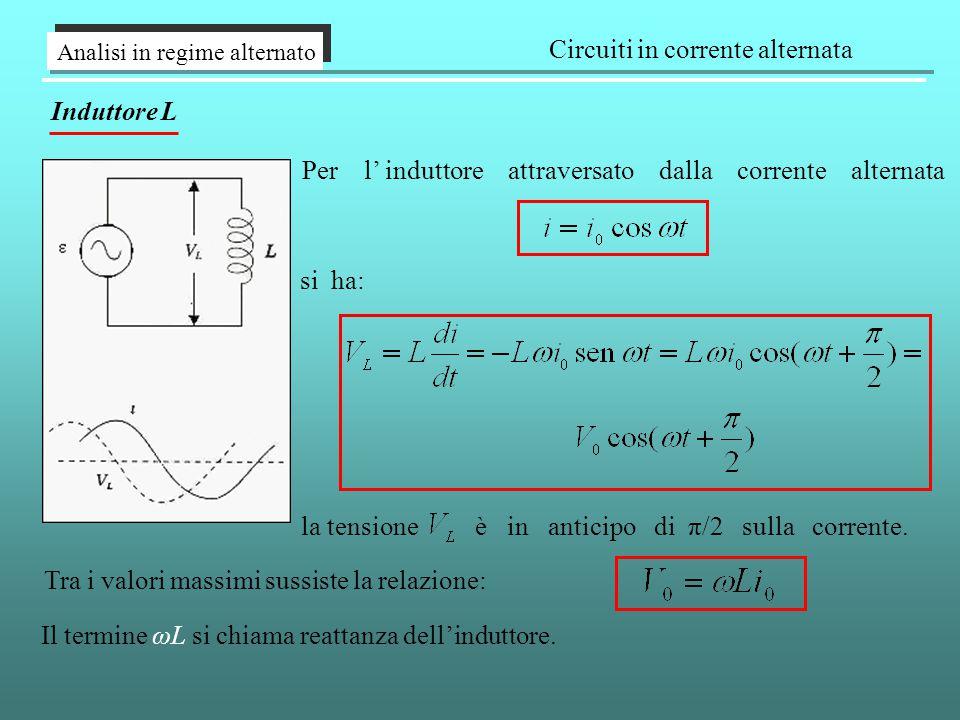 Analisi in regime alternato Circuiti in corrente alternata Induttore L Per l' induttore attraversato dalla corrente alternata si ha: la tensione è in anticipo di π/2 sulla corrente.