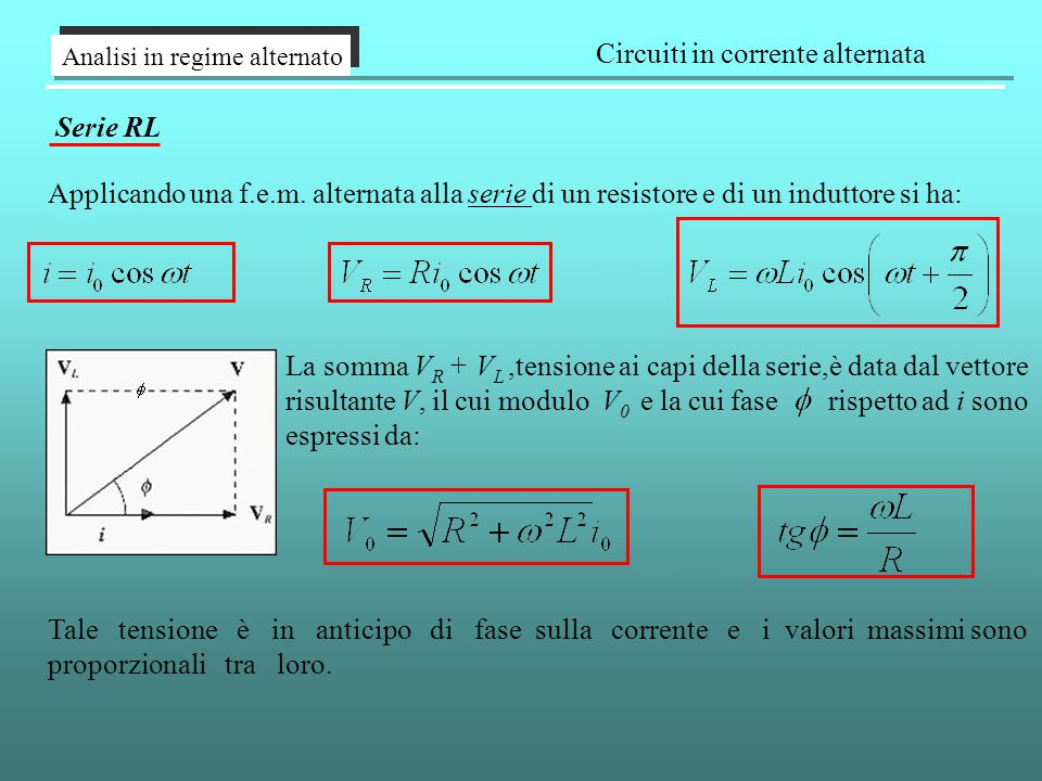 Analisi in regime alternato Circuiti in corrente alternata Serie RL Applicando una f.e.m. alternata alla serie di un resistore e di un induttore si ha