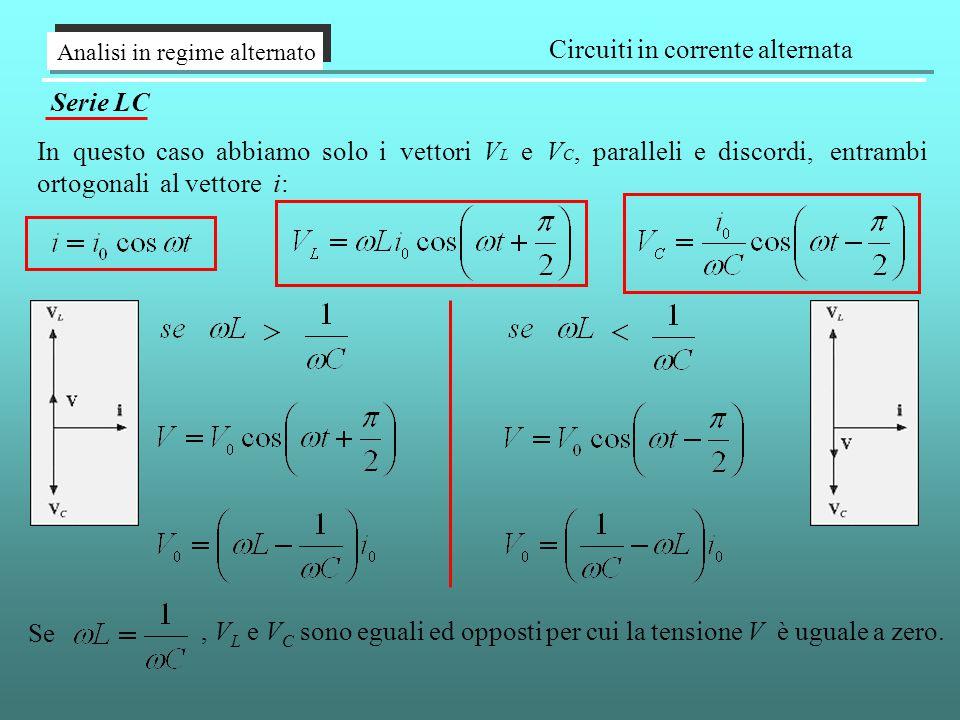 Analisi in regime alternato Circuiti in corrente alternata Serie LC In questo caso abbiamo solo i vettori V L e V C, paralleli e discordi, entrambi ortogonali al vettore i: Se, V L e V C sono eguali ed opposti per cui la tensione V è uguale a zero.