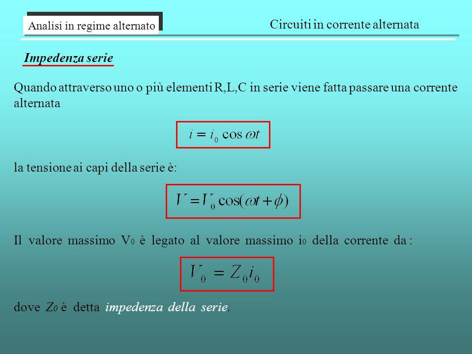 Analisi in regime alternato Circuiti in corrente alternata Impedenza serie Quando attraverso uno o più elementi R,L,C in serie viene fatta passare una corrente alternata la tensione ai capi della serie è: Il valore massimo V 0 è legato al valore massimo i 0 della corrente da : dove Z 0 è detta impedenza della serie.
