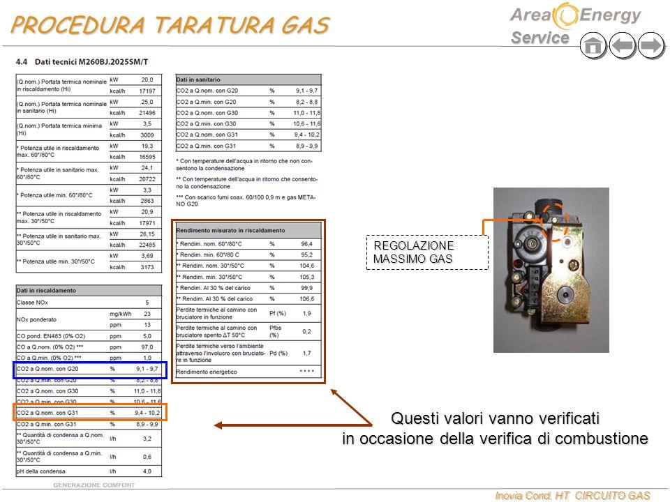 Inovia Cond. HT CIRCUITO GAS Service PROCEDURA TARATURA GAS Questi valori vanno verificati in occasione della verifica di combustione REGOLAZIONE MASS