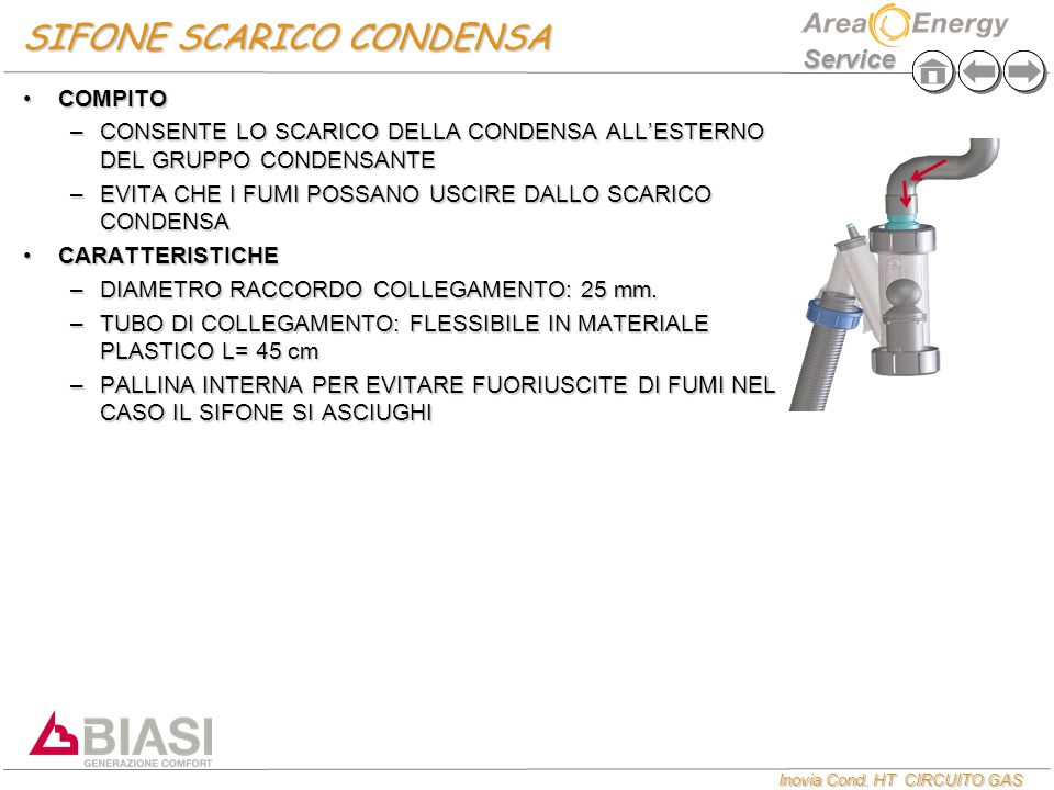 Inovia Cond. HT CIRCUITO GAS Service SIFONE SCARICO CONDENSA COMPITOCOMPITO –CONSENTE LO SCARICO DELLA CONDENSA ALL'ESTERNO DEL GRUPPO CONDENSANTE –EV