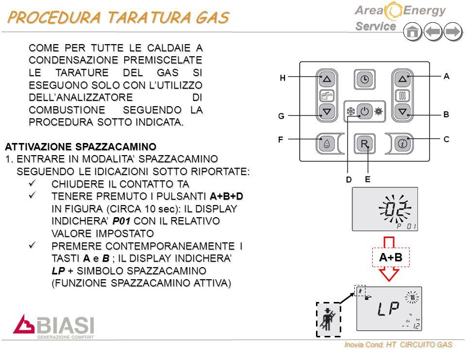 Inovia Cond. HT CIRCUITO GAS Service ATTIVAZIONE SPAZZACAMINO  ENTRARE IN MODALITA' SPAZZACAMINO SEGUENDO LE IDICAZIONI SOTTO RIPORTATE: CHIUDERE IL