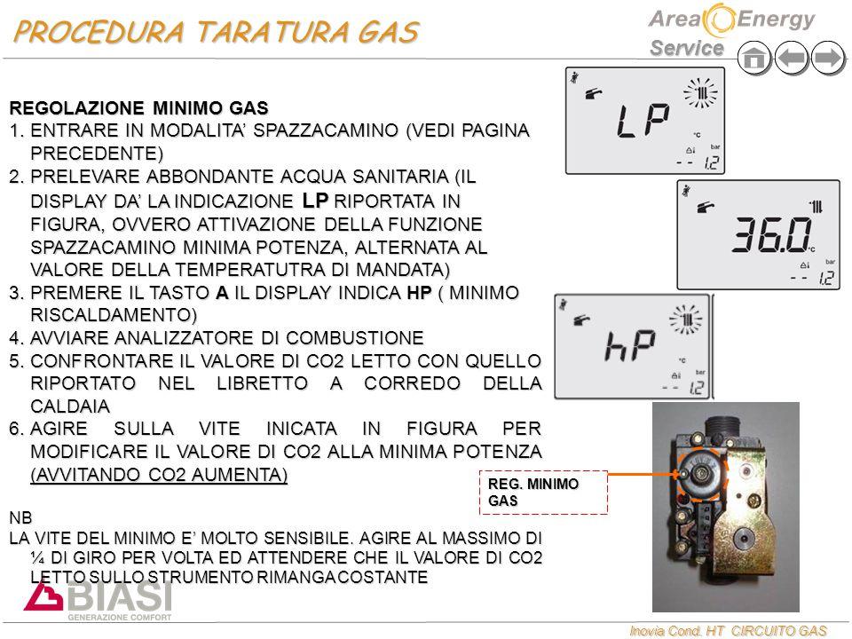 Inovia Cond. HT CIRCUITO GAS Service REGOLAZIONE MINIMO GAS  ENTRARE IN MODALITA' SPAZZACAMINO (VEDI PAGINA PRECEDENTE)  PRELEVARE ABBONDANTE ACQU