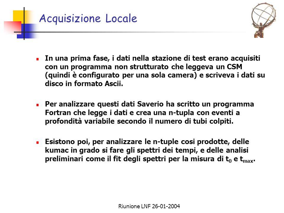 Riunione LNF 26-01-2004 Acquisizione Locale In una prima fase, i dati nella stazione di test erano acquisiti con un programma non strutturato che leggeva un CSM (quindi è configurato per una sola camera) e scriveva i dati su disco in formato Ascii.