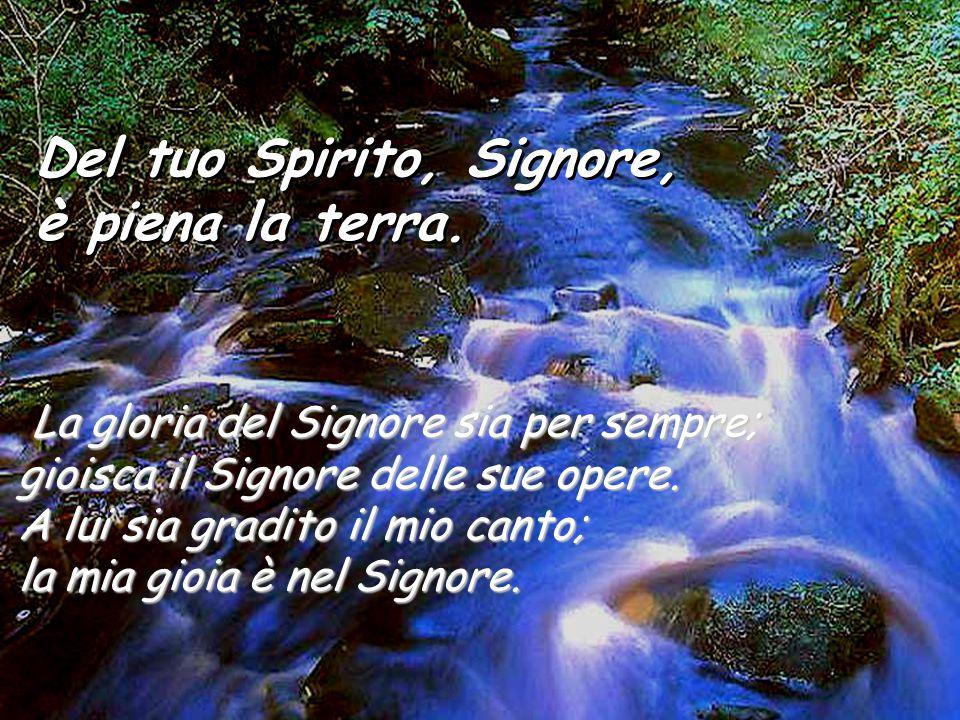 Del tuo Spirito, Signore, è piena la terra. Del tuo Spirito, Signore, è piena la terra. Se togli loro il respiro, muoiono e ritornano nella loro polve