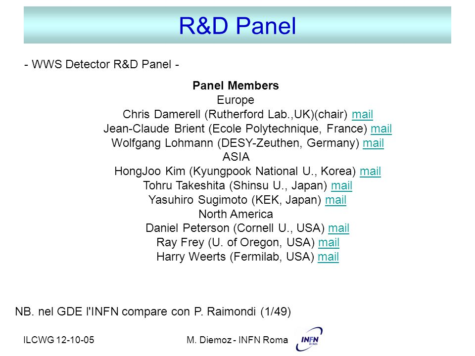 ILCWG 12-10-05M. Diemoz - INFN Roma R&D Panel Panel Members Europe Chris Damerell (Rutherford Lab.,UK)(chair) mailmail Jean-Claude Brient (Ecole Polyt