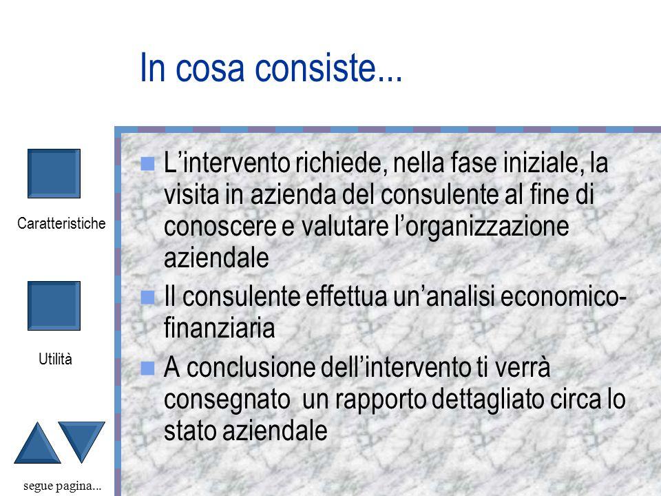 Caratteristiche Utilità Check-Up Aziendale COGES segue pagina...