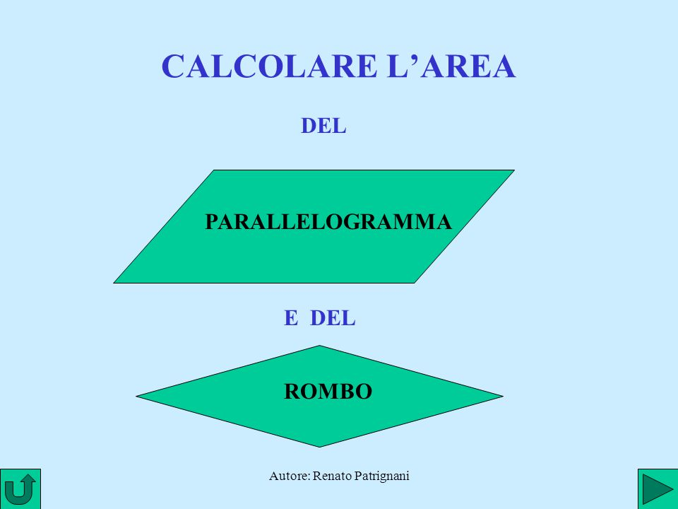 Autore: Renato Patrignani CALCOLARE L'AREA DEL PARALLELOGRAMMA E DEL ROMBO